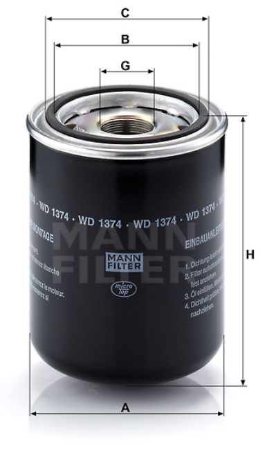 WD 1374 Wechselfilter SpinOn