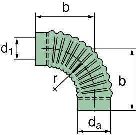 39 000 25 266 Krümmer 90°, ID=130mm x 265mm (Gummi)
