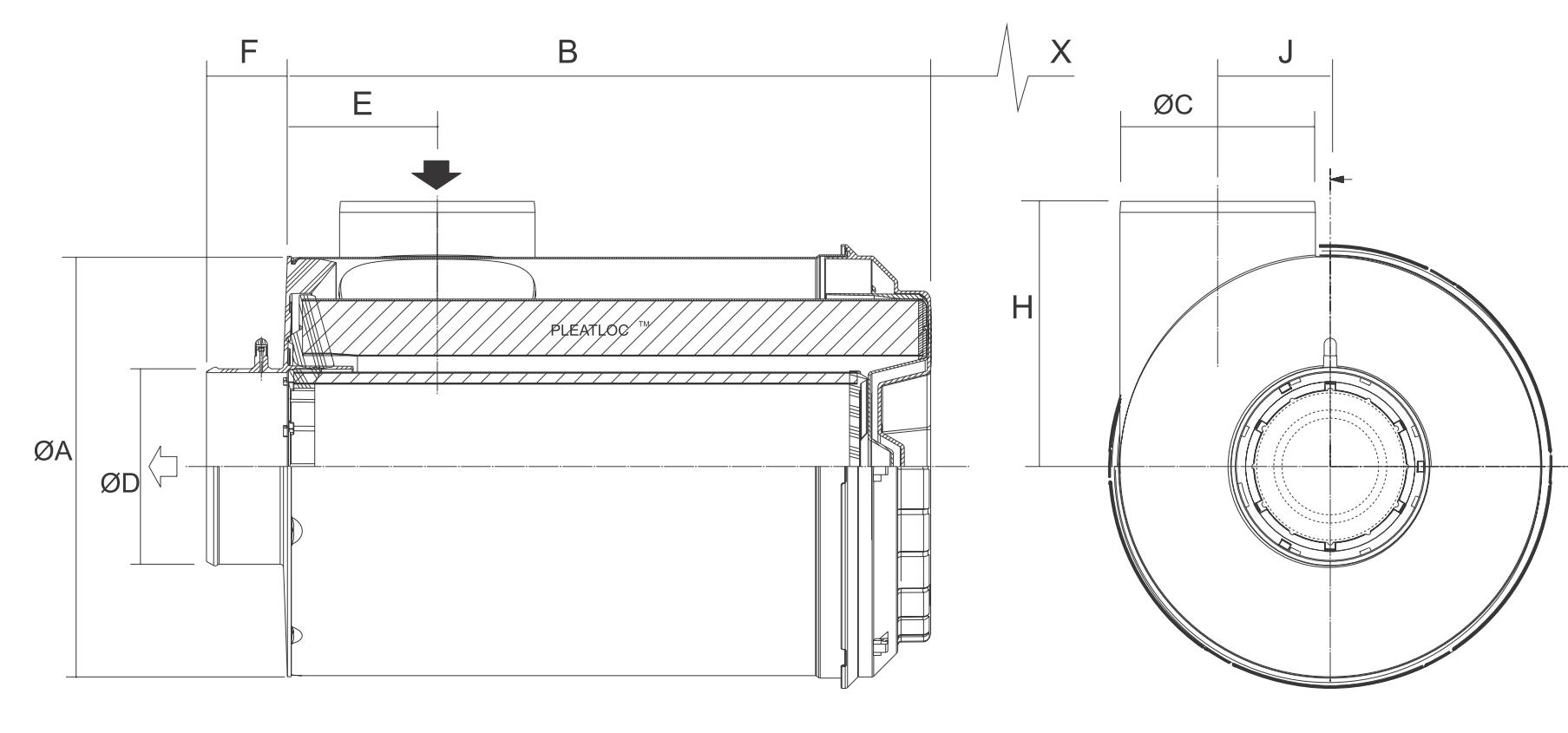 B100126 Luftfilter RadialSeal ERB2