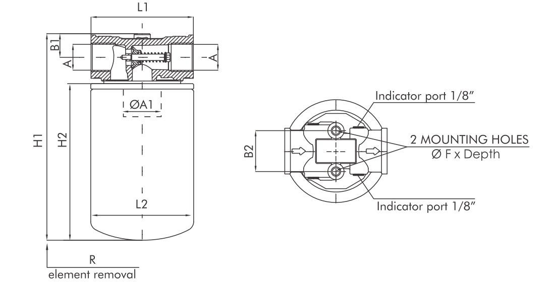 FA110C25BB40PDS Leitungsfilter (Saugfilter)