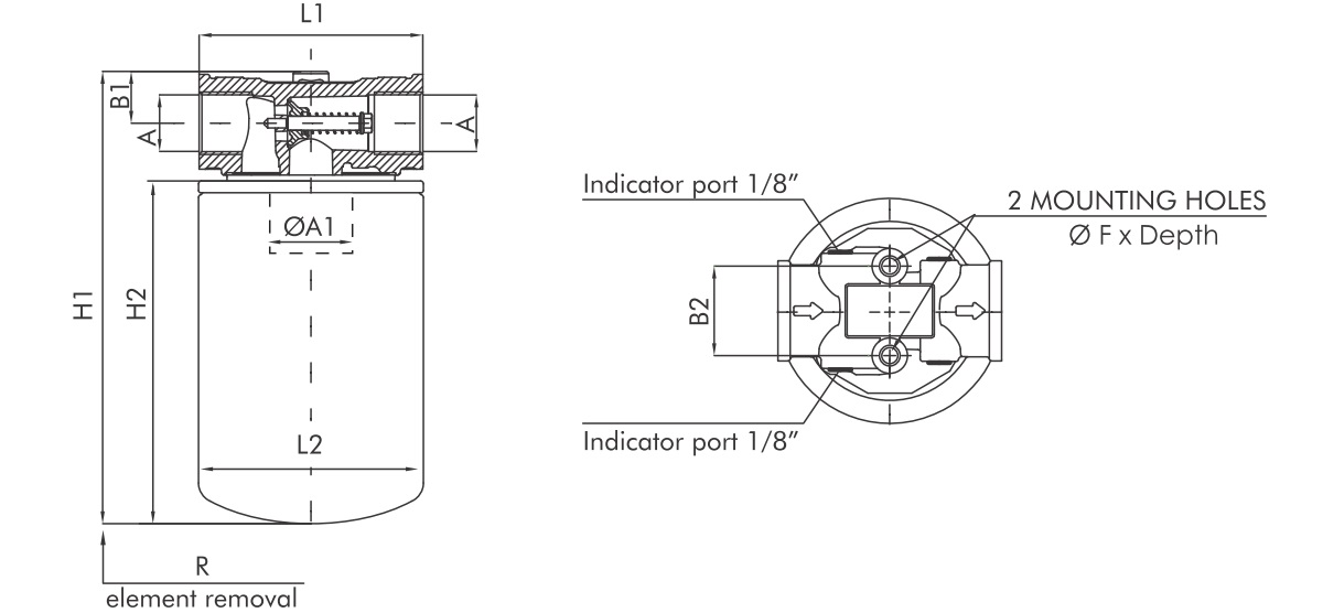 FA110C10B4RR1 Leitungsfilter (Rücklauffilter)