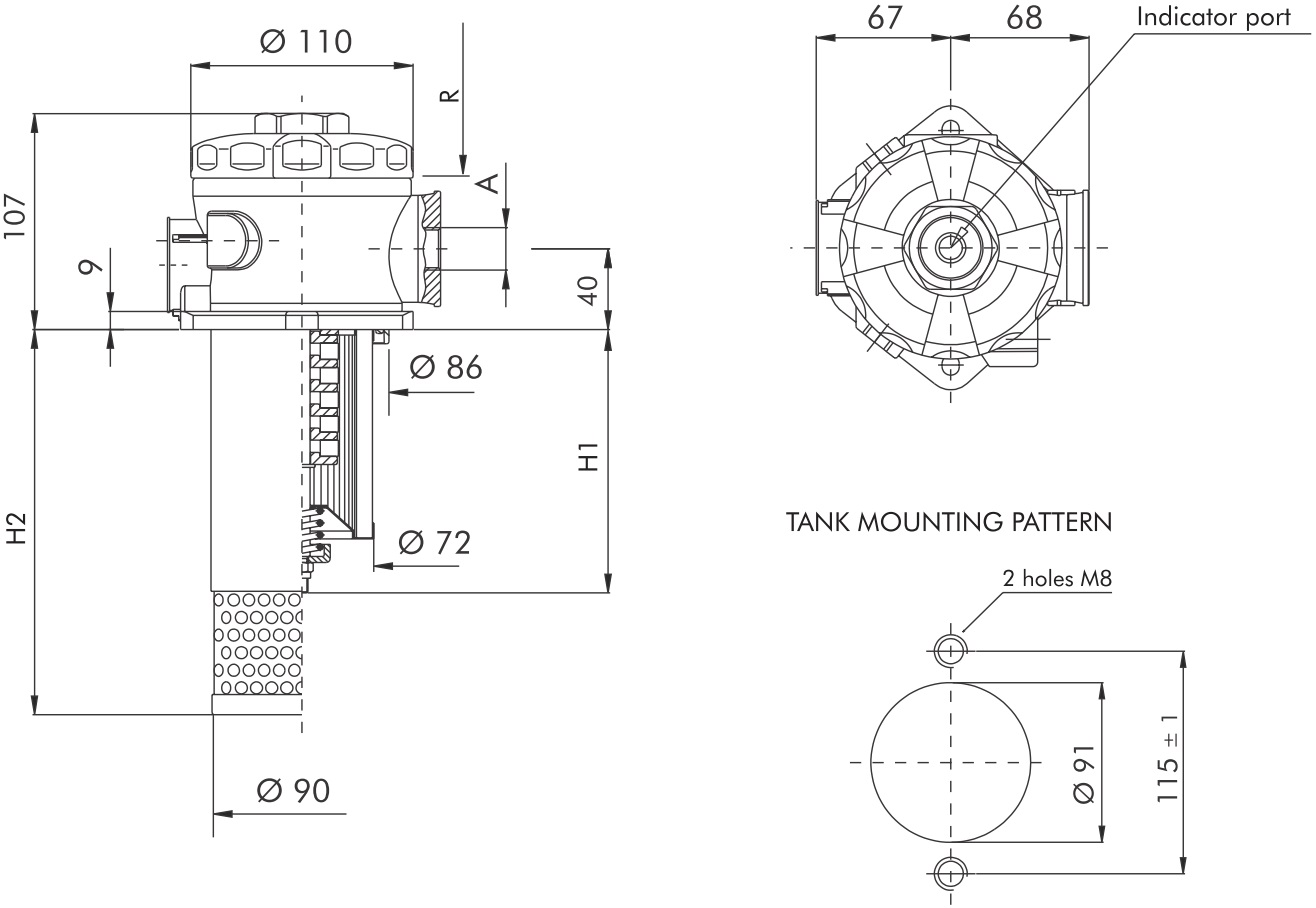 FCR7120B50V0800000 Rücklauffilter (Tankanbau) ohne Element