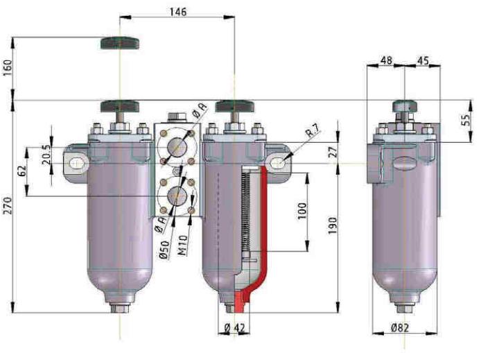 KMGW00004 Drahtspaltfilter umschaltbar, 0,05 mm