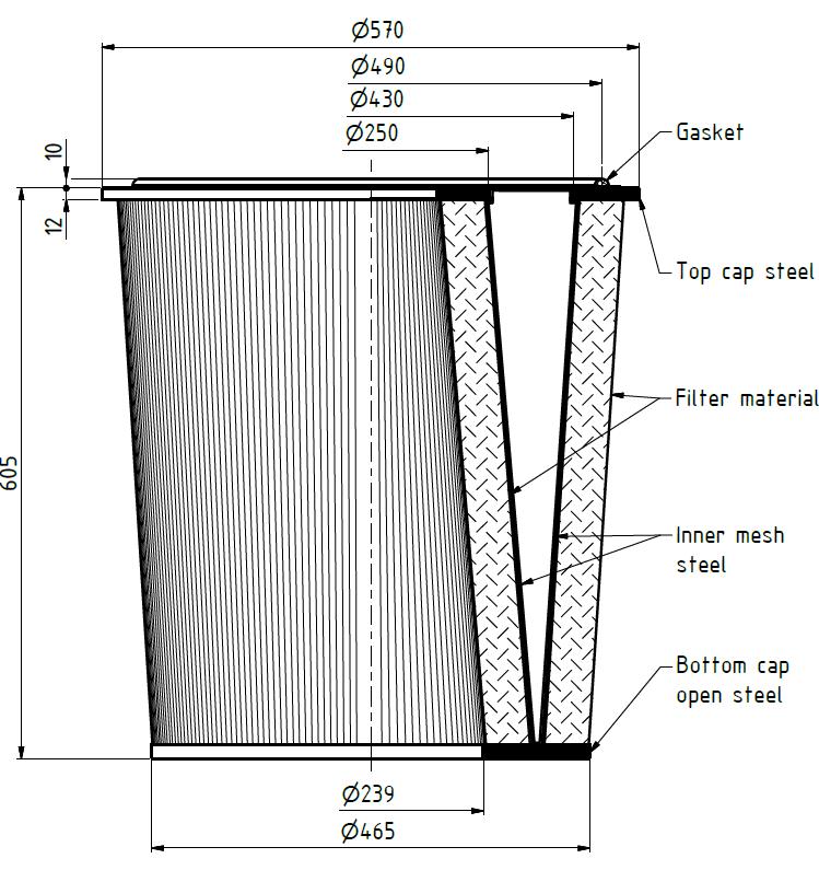 EIT-130-11868 Filterpatrone 570/465 x 605mm, 17m²