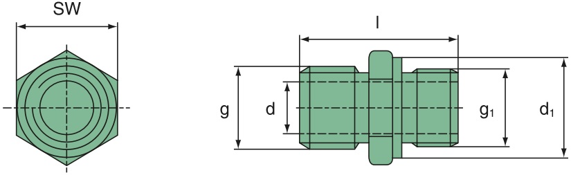 """21 026 15 211 Doppelnippel M24 x 1,5 / 1-14"""" NS"""