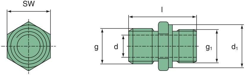 "21 024 15 121 Doppelnippel M 24x1,5 / 3/4""-16UNF"