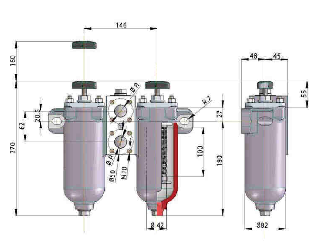 KMGW00002 Drahtspaltfilter umschaltbar, 0,1 mm